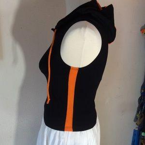 Urban Outfitters Tops - Sporty Black Orange Hoodie Vest Athletic